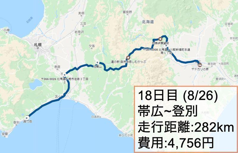 日本一周18日目ルート