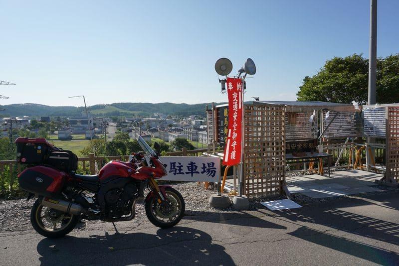 浦幌神社のバイク置き場