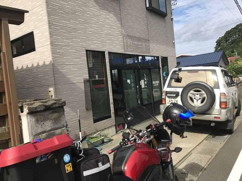出発前の民宿とバイク